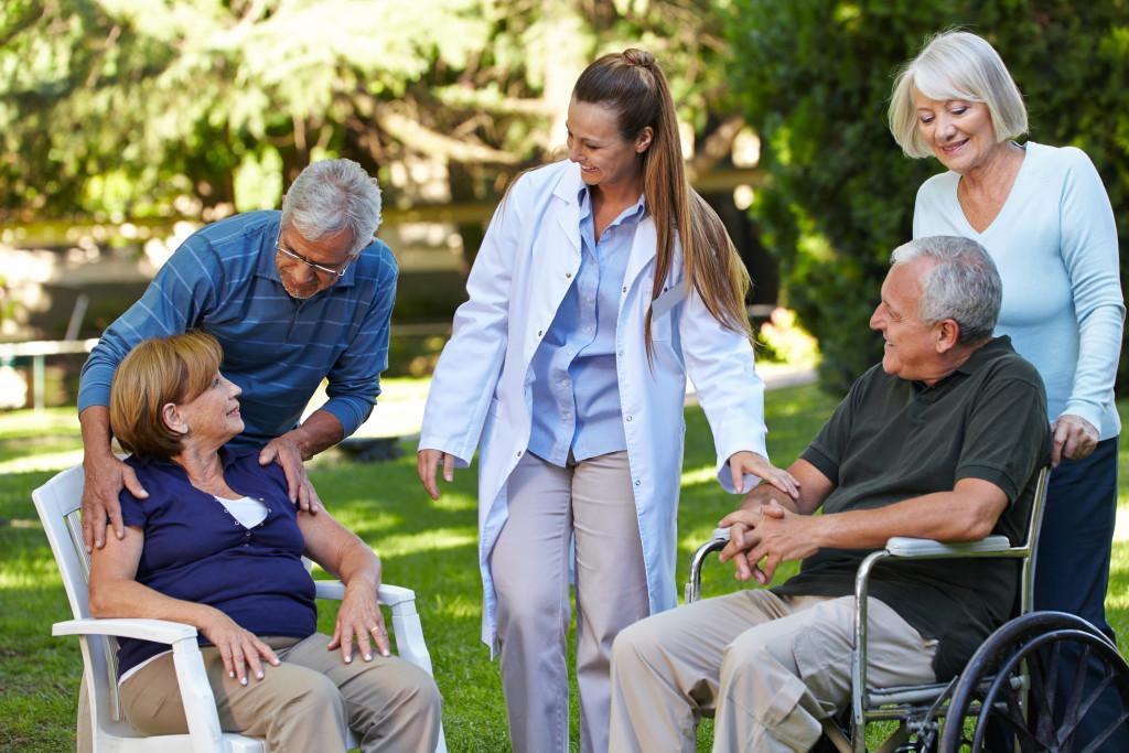 senior people outside