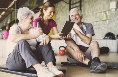 old couple with fitness instructor