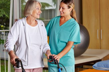 woman with a caregiver